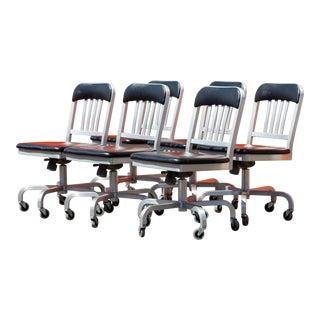 Emeco Navy Semi-Upholstered Swivel Chair- Set of 6 For Sale