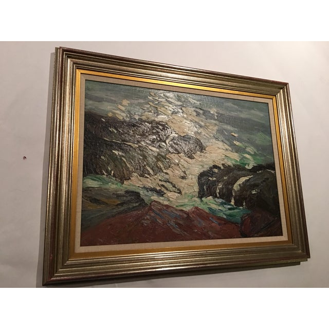 Blue Framed Seascape Painting 'After the Blow' For Sale - Image 8 of 8
