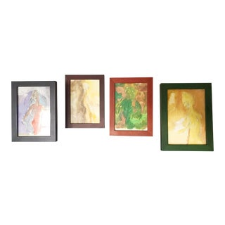 Vintage Abstract Nude Sketches in Pastels - Set of 4 For Sale