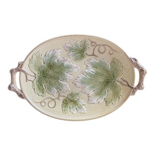 Large Antique Majolica Leaf Pattern Serving Tray For Sale