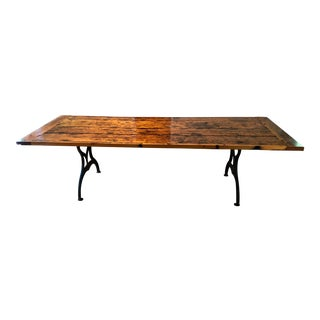 Antique Barnwood Rustic Farm Table With Cast Iron Legs For Sale