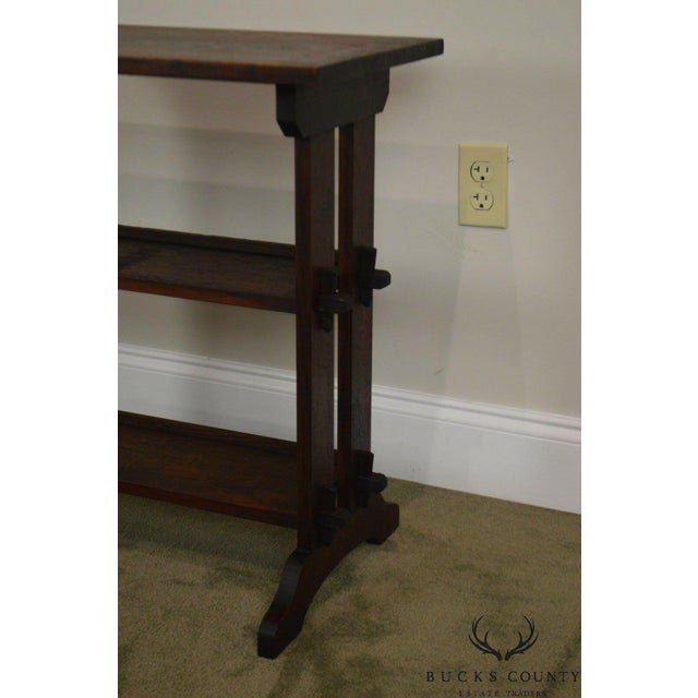 1910s Roycroft Antique Mission Oak Little Journey's Book Stand For Sale - Image 5 of 13