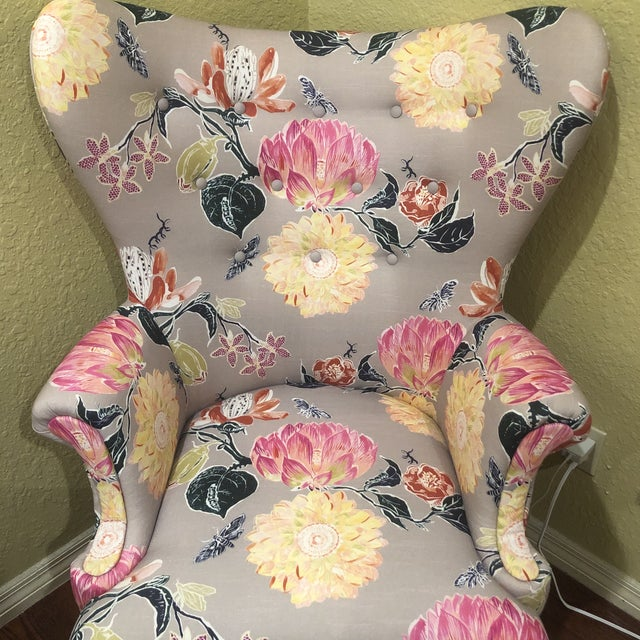 Fabric Modern Anthropologie Lotus Blossom Wingback Chair For Sale - Image 7 of 11