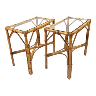 Mid Century Bamboo / Rattan Side Tables—a Pair For Sale