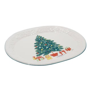 Oval Ceramic Christmas Platter For Sale