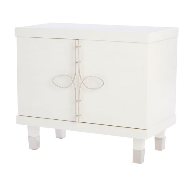 Contemporary Chloe Nightstand With Doors (Warm White) For Sale - Image 3 of 3