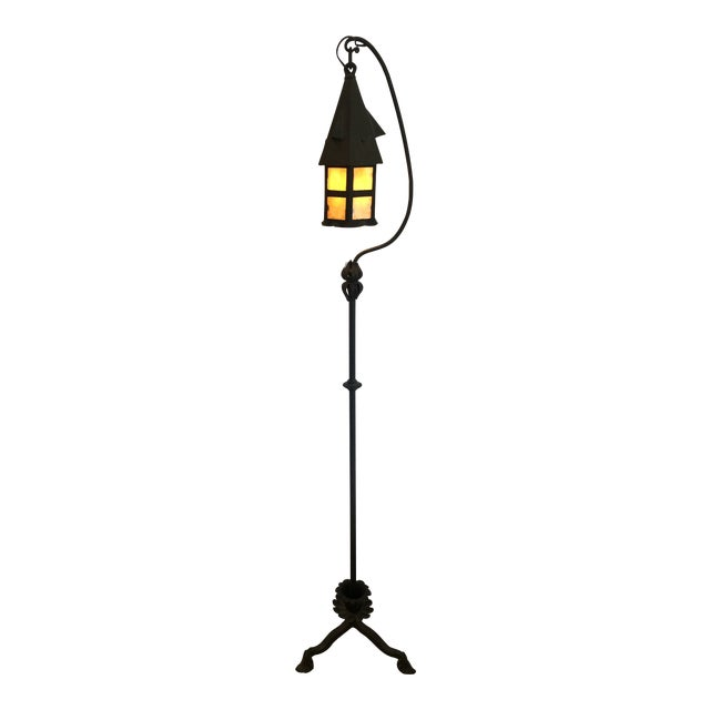 Arts & Crafts Mission Style Floor Lamp With Stained Glass For Sale