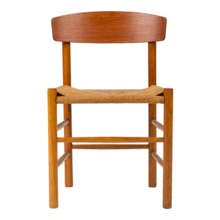 Single J39 Oak Dining or Accent Chair by Børge Mogensen for Fdb Møbler For Sale