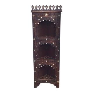 Moorish Syrian Style Inlaid Corner Cabinet For Sale