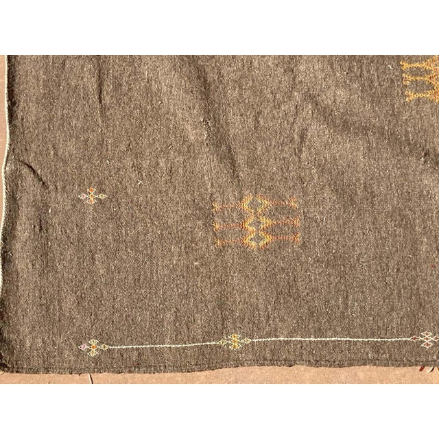 Contemporary Moroccan Vintage Flat-Weave Brown Rug For Sale - Image 3 of 13