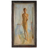 """Image of David Landis """"Youth"""" Mid 20th Century Oil Painting of Young Man With Flute Mid 20th Century For Sale"""