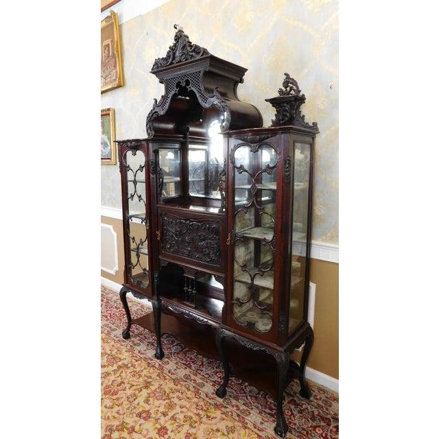 Antique Leather Sofa Northern Ireland: Antique Edwardian Carved Mahogany Etagere Vitrine Cabinet