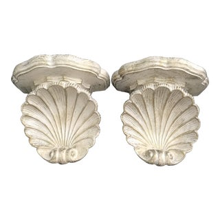 Vintage Scallop Shell Wall Shelves Sconce - a Pair For Sale