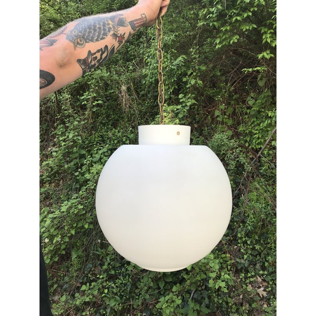 White Vintage Mid Century Modern Swedish White Glass Globe Light Chandelier For Sale - Image 8 of 8