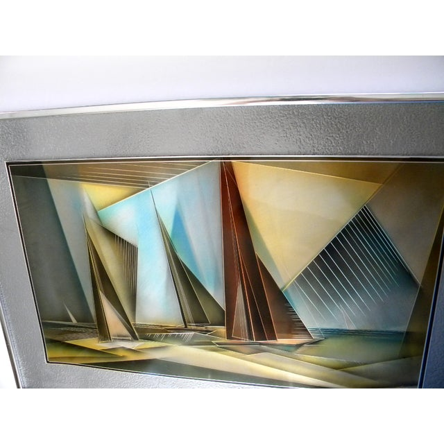Airbrush 1976 Tom Gall San Francisco Bay Aluminum Etched and Airbrushed Painting For Sale - Image 7 of 10