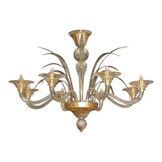 Amber and Smoked Murano Glass Chandelier For Sale