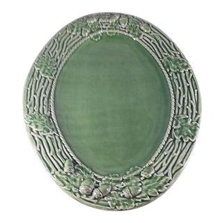 1970s Oak Leaf Green Bordallo Pinheiro Majolica Oval Serving Platter For Sale