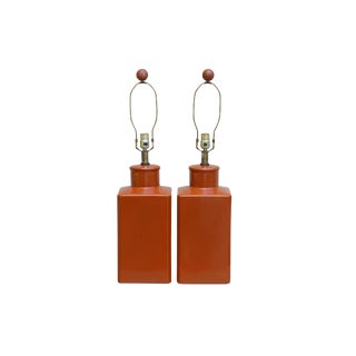 Caramel Colored Ceramic Table Lamps, a Pair For Sale
