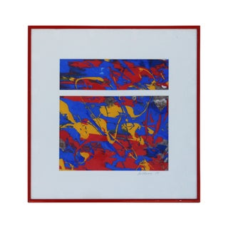 Primary Color Silkscreen Painting Signed La Chance '84 For Sale