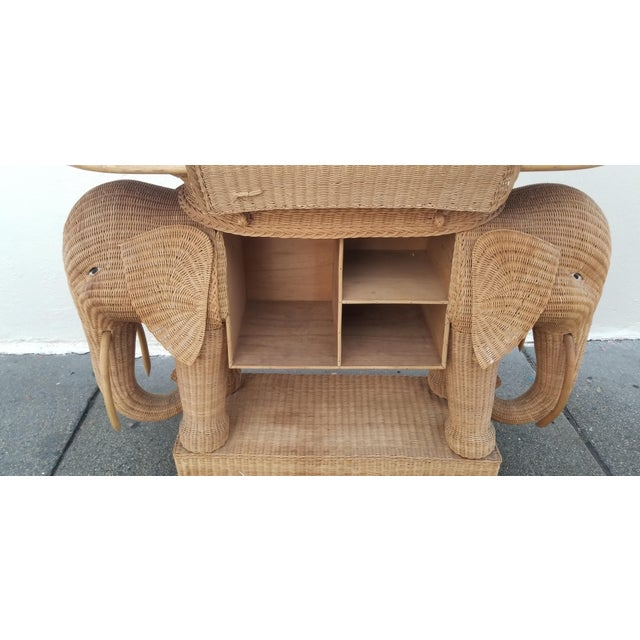 Boho Chic 1980's Mario Torres Style Wicker Elephant Bar For Sale - Image 3 of 8