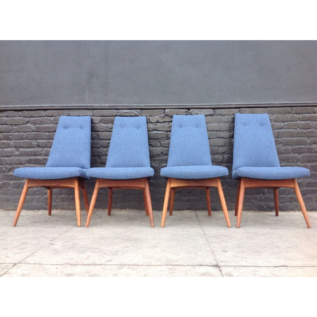 Adrian Pearsall Blue Adrian Pearsall Dining Chairs - Set of 4 For Sale - Image 4 of 6