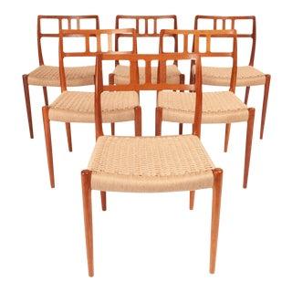 Vintage Niels Otto Møller Model #79 Teak Dining Chairs - Set of 6 For Sale