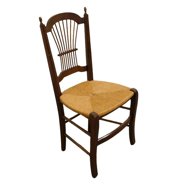 20th Century Early American Solid Cherry Wheat Back Dining Side Chair For Sale