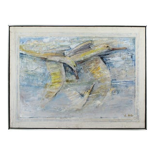 Mid Century Modern Framed Acrylic Impasto Seagulls Painting Board Signed L. Biro For Sale