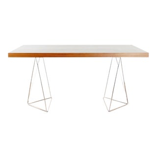 """Temahome 71"""" Walnut Table Top With Chrome Trestle Legs For Sale"""