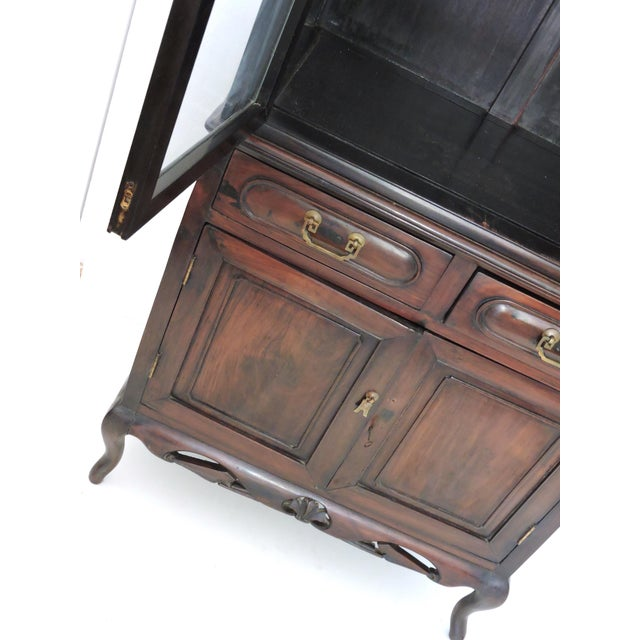 Antique Chinese Blackwood Display China Cabinet/Cupboard/Hutch For Sale - Image 4 of 7