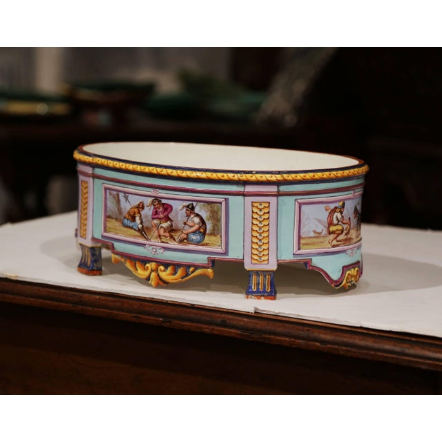 Pastel Early 20th Century, French Hand Painted Ceramic Oval Jardinière Signed For Sale - Image 7 of 12