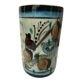 Mexican Hand Painted Pottery Birds and Flowers Tonala Crock/Vase For Sale