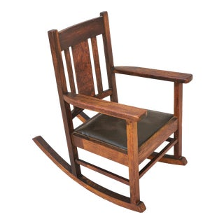 Antique Children's Arts & Crafts Mission Tiger Oak Rocker For Sale