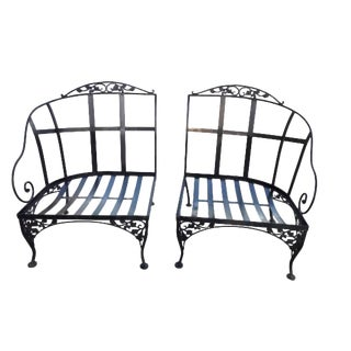 Mid Century Modern Wrought Iron Patio Chair Set - a Pair