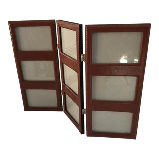Contemporary 9 Sections Leather Picture Frame For Sale