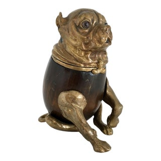 Arthur Court Brass and Wood Bulldog Humidor - Box, Signed For Sale