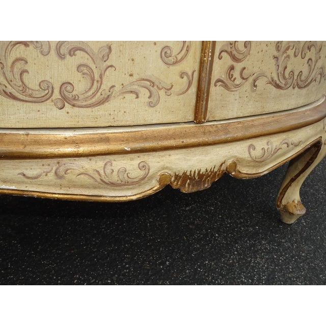 Wood Antique French Country Italian White Hand Painted Demilune Chest Made in Italy For Sale - Image 7 of 13