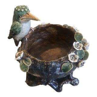 1970s Asian Pottery Pedestal Bowl For Sale
