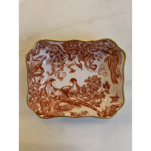 """Ceramic 1960s Royal Crown Derby """"Red Aves"""" Ring Dish For Sale - Image 7 of 7"""