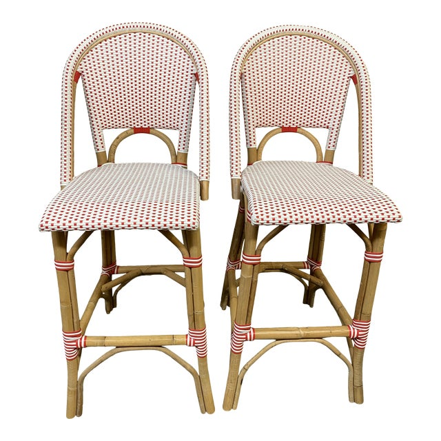 Serena & Lily Riviera Red + White Barstools, a Pair For Sale