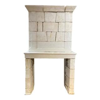 Louis XVII Limestone Mantel with Trumeau For Sale