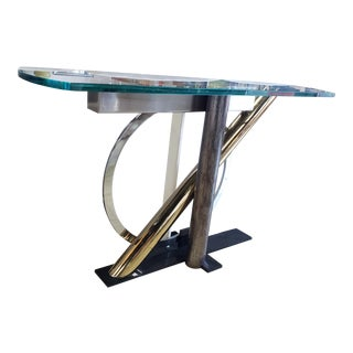 1970s Contemporary Chrome, Steel and Brass With Glass Top Console by Icf Italy For Sale