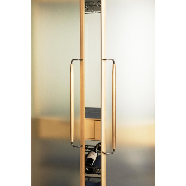 Plano Bar Cabinet in Bronze, Curved Glass Doors, Waxed Leather Bottle Slings For Sale - Image 4 of 12