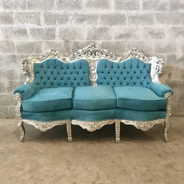 1940s 1940s Vintage Italian Baroque Rococo Style 3-Seater Sofa For Sale - Image 5 of 6