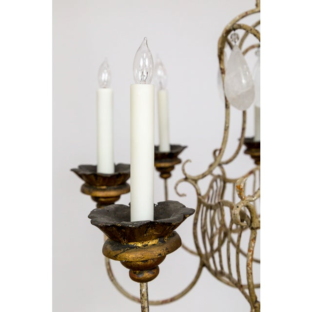 Belle Epoque Style Tan Painted Birdcage Chandelier With Rock Crystals For Sale - Image 11 of 13