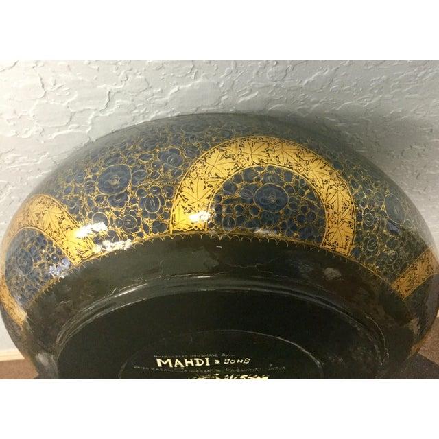 Antique Indian Kashmir Lacquer Paper Mache Bowl For Sale - Image 9 of 12
