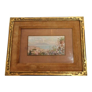 Italian Gouache on Vellum Painting of the Bay of Naples by De Fulvis For Sale