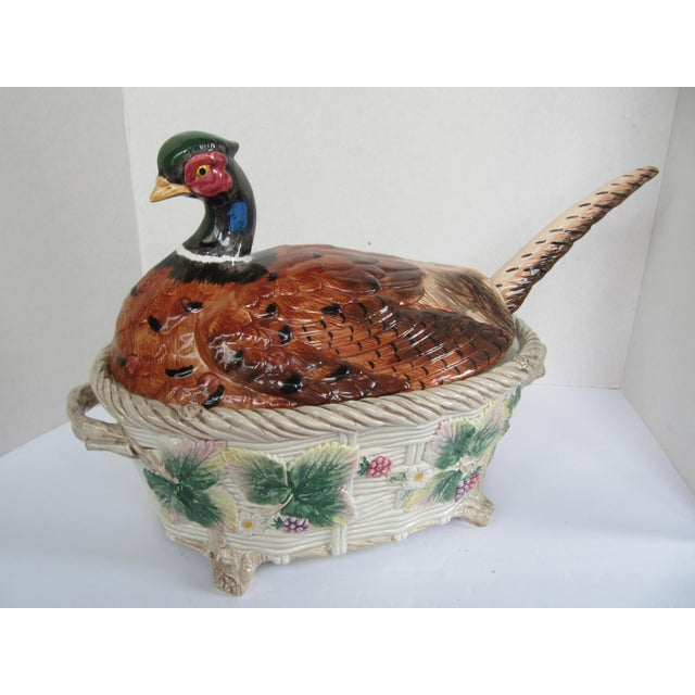 Vintage Pheasant Tureen & Lid W/Ladle by Fitz & Floyd For Sale - Image 9 of 9