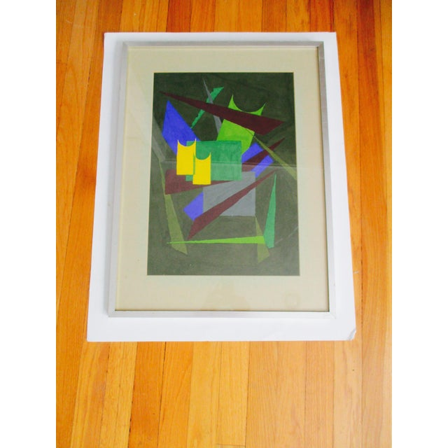 Abstract Geometric Acrylic Painting - Image 2 of 10