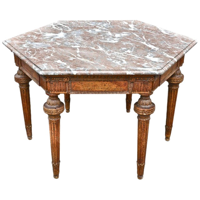 19th Century French Neoclassical Hexagonal Centre Table with Marble Top For Sale